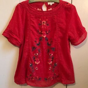 Roolee red embroidered top